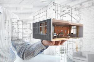 בית על רקע רישום ארכיטקטורי