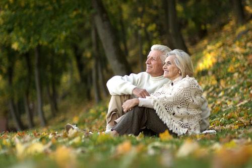 זוג בגיל זקנה יושבים בדשא