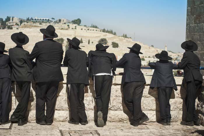 קבוצת חרדים מביטים בנוף ירושלמי